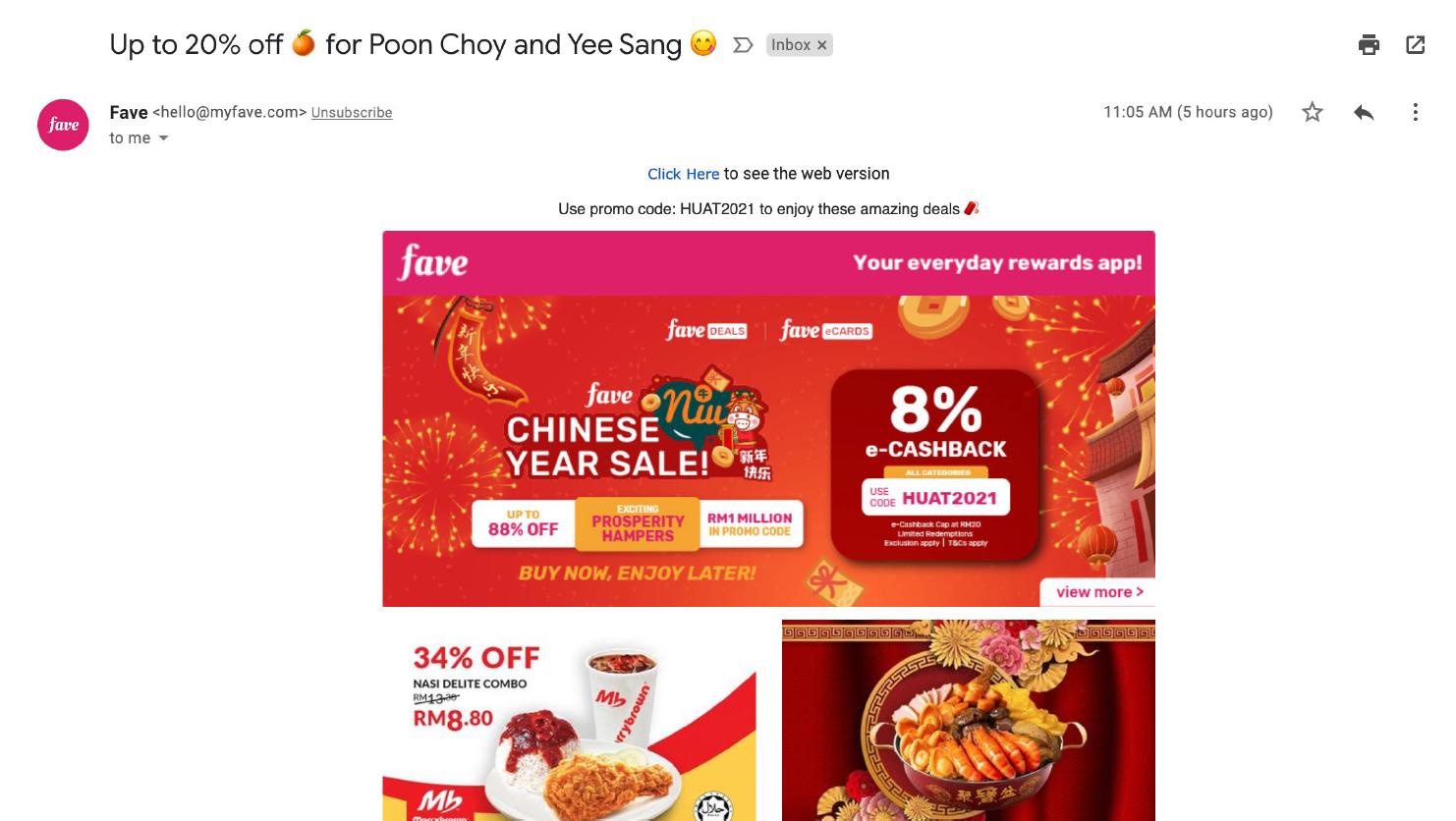 Fav promotional email