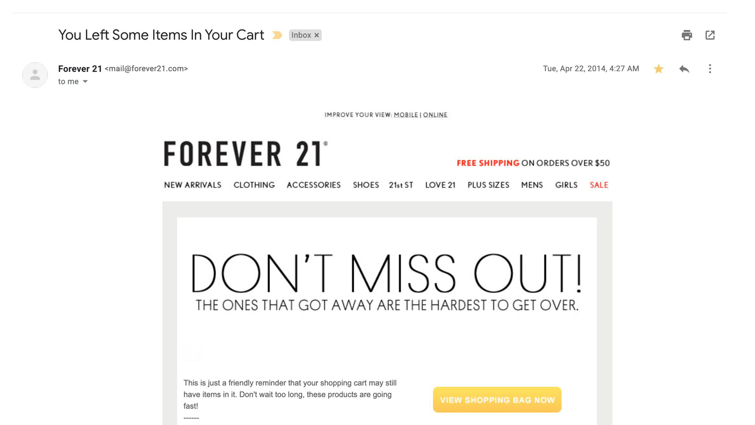 Forever 21 promotional email