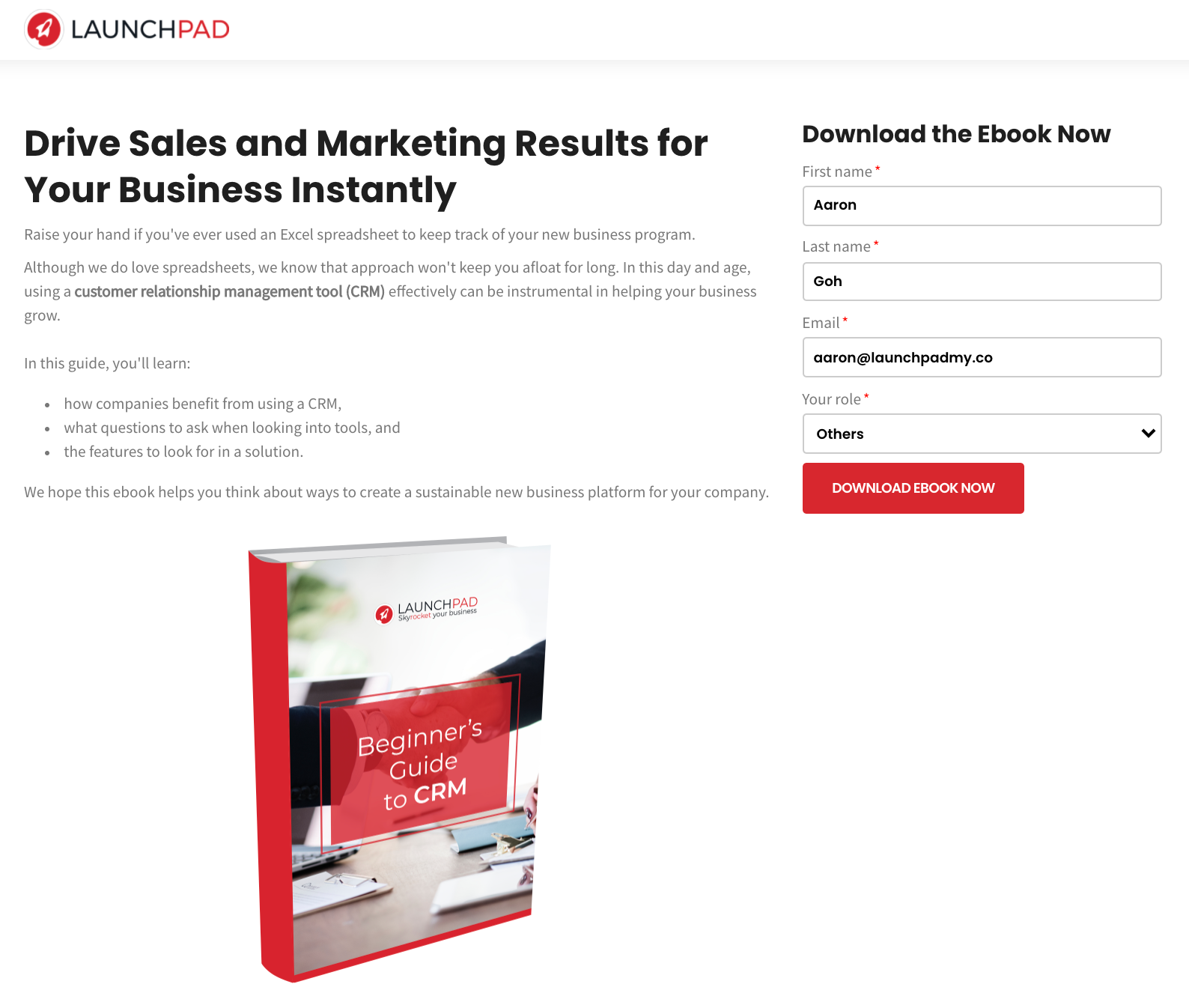 Launchpad CRM landing page